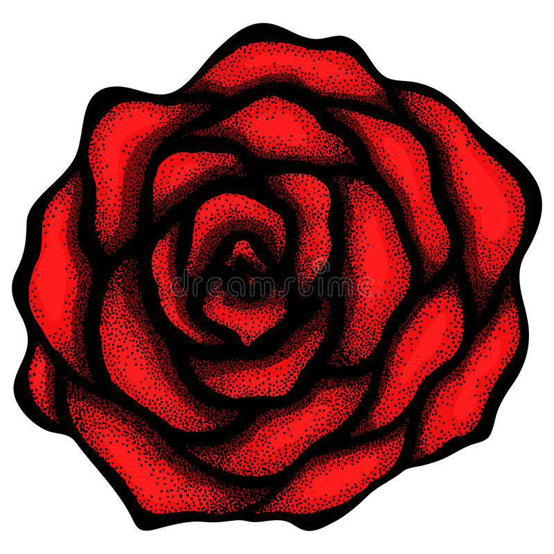 Abstract rose free-hand drawing in a graphic style royalty free illustration