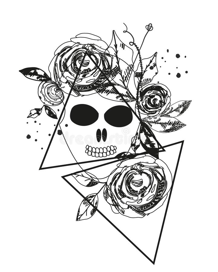 Abstract rose silhouette. Skull. Triangle geometric rose. Summer time abstract black flowers. Nature theme. Abstract tattoo royalty free illustration