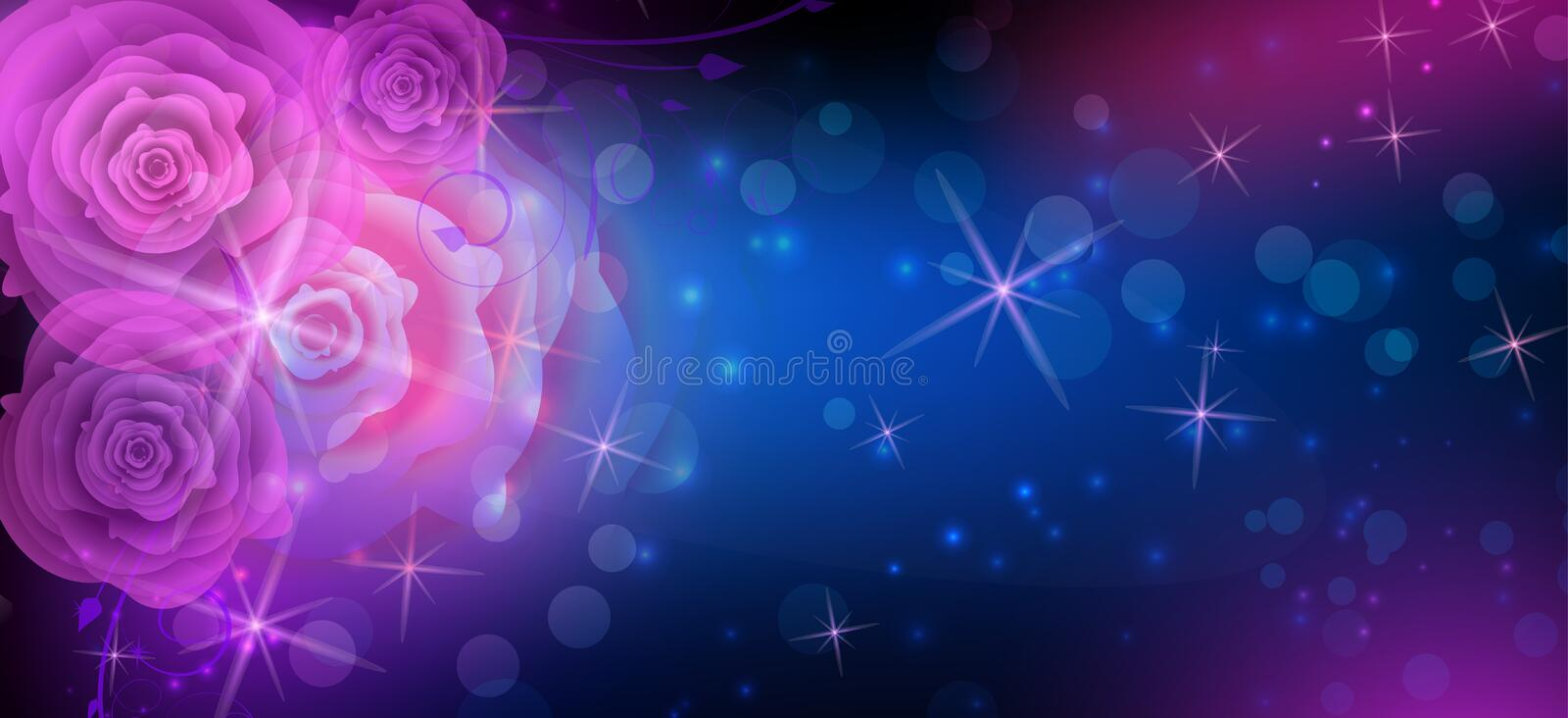 Abstract roses dark background. Dark background in blue and purple colors with abstract roses stock illustration