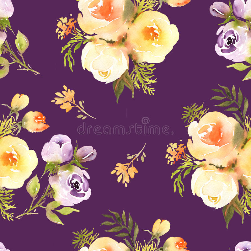 Abstract roses flower watercolor seamless pattern in royalty free illustration