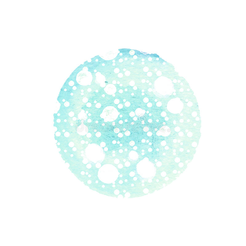 Abstract round background in shades of blue with splashes white. Winter watercolor circle. Abstract round background in shades of blue with splashes of white vector illustration