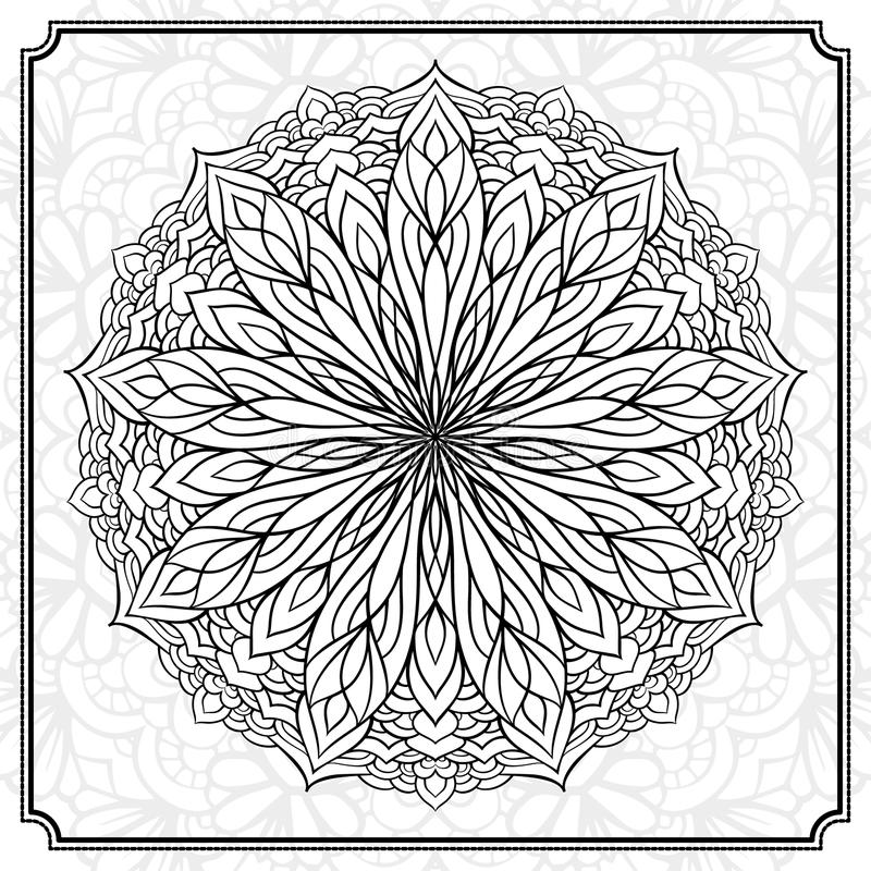Abstract round design element. Vector abstract black and white mandala pattern stock illustration