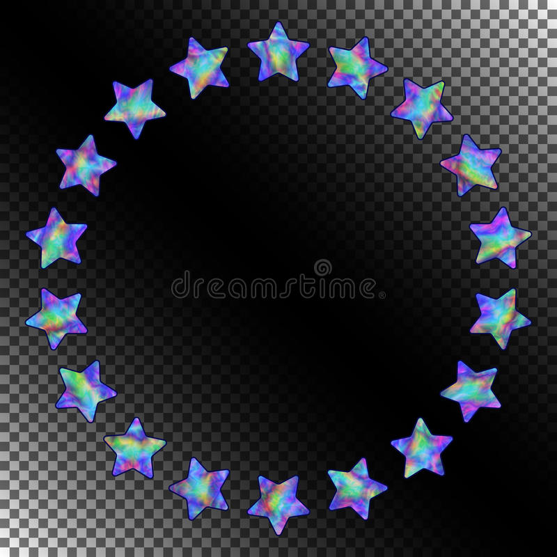 Abstract Round Frame Of Stars With Realistic Holographic Effect ...