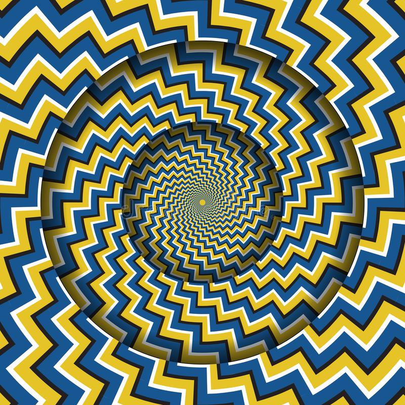 Free Abstract Round Frame With A Rotating Blue Yellow Zigzag Stripes Pattern. Optical Illusion Hypnotic Background Royalty Free Stock Photos - 160741278
