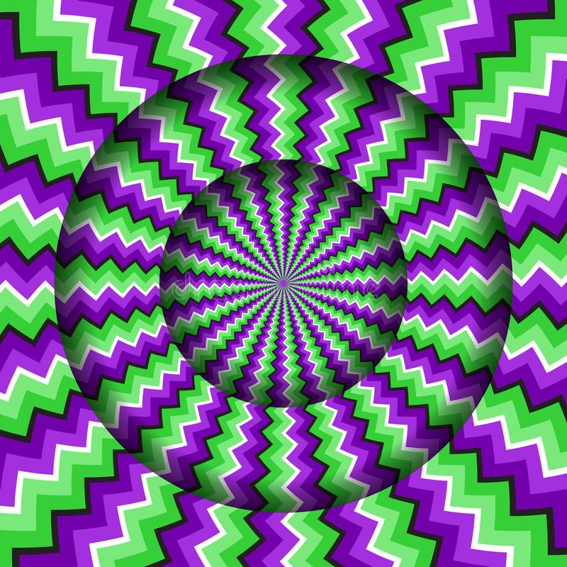 Free Abstract Round Frame With A Rotating Green Purple Zigzag Pattern. Optical Illusion Hypnotic Background Stock Photography - 164819162