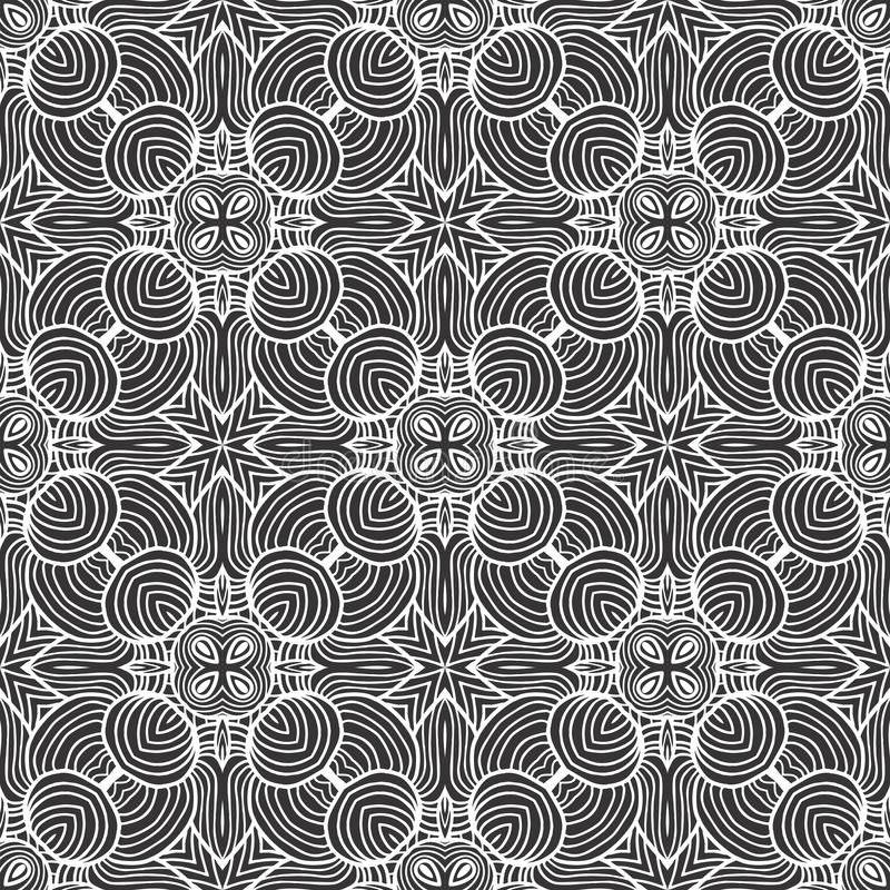 Abstract round lines seamless pattern background illustration in black and white stock illustration