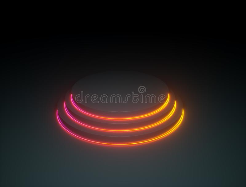 Abstract round podium with colorful light rings royalty free illustration