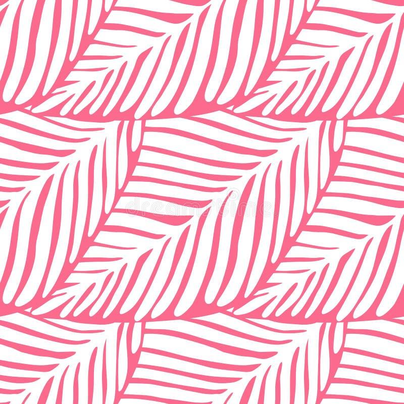 Abstract roze blad naadloos patroon Exotische installatie Tropisch patroon royalty-vrije illustratie