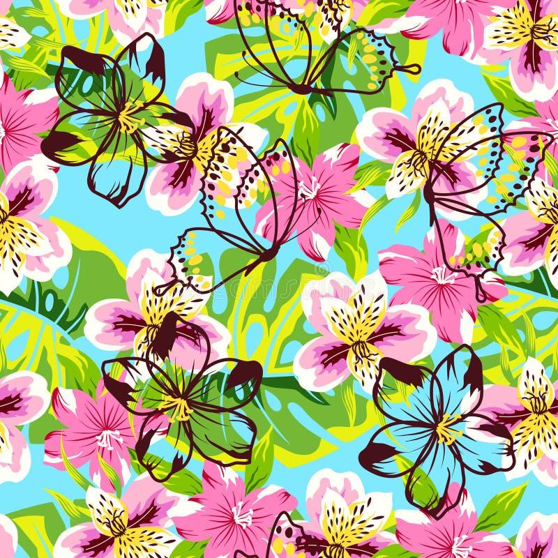 Abstract roze bloempatroon vector illustratie