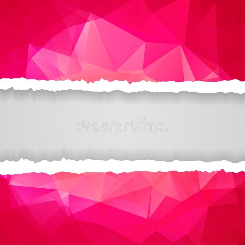 Abstract Roze Driehoekig Veelhoekig gescheurd document vector illustratie