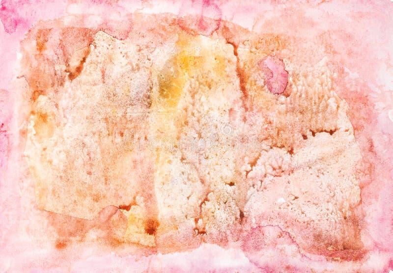 Abstract roze en geel hand geschilderd document vector illustratie