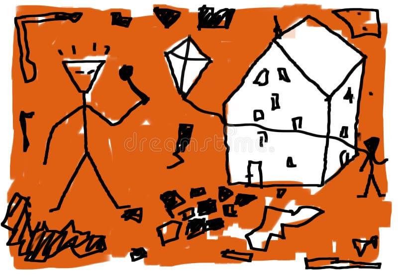Abstract rudimentair soort schets stock illustratie