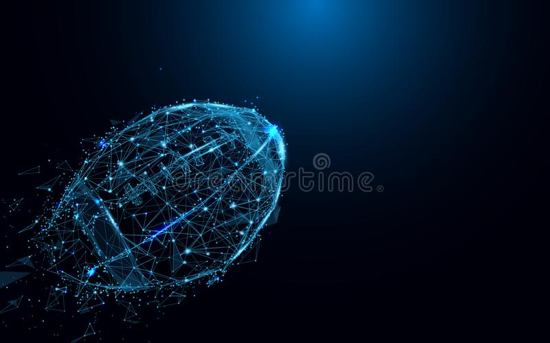 Abstract rugby ball from lines and triangles, point connecting network on blue background. royalty free illustration