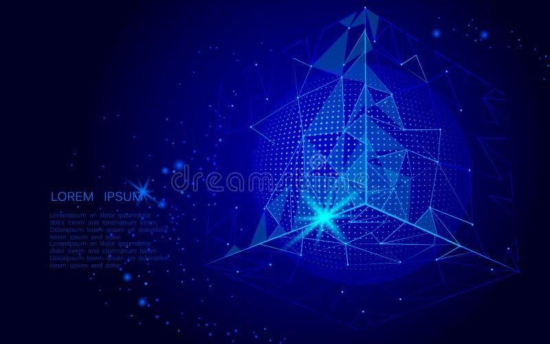 Abstract ruimte veelhoekig art. Driehoekskubus en bol Donkerblauw van de van de achtergrond nachthemel punt i isometrisch verbond vector illustratie