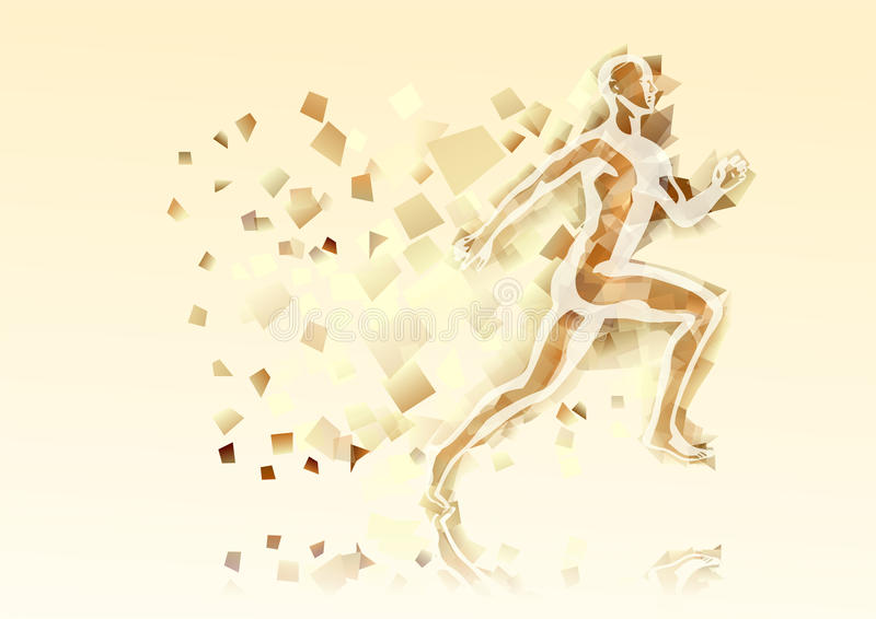 Abstract running man. On abstract multicolor background royalty free illustration