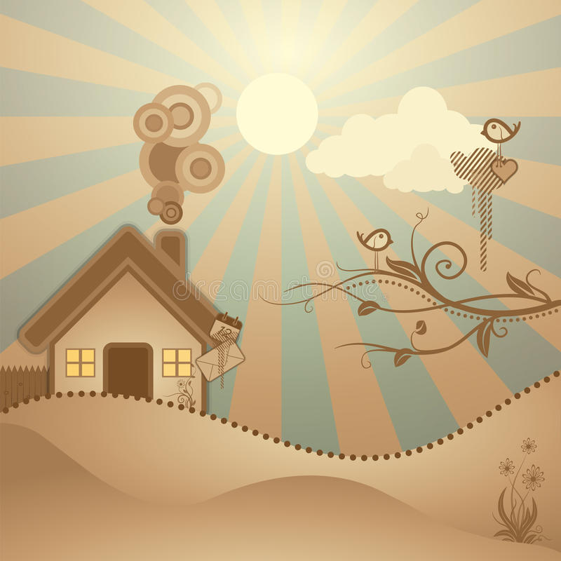 Abstract rural scene stock illustration