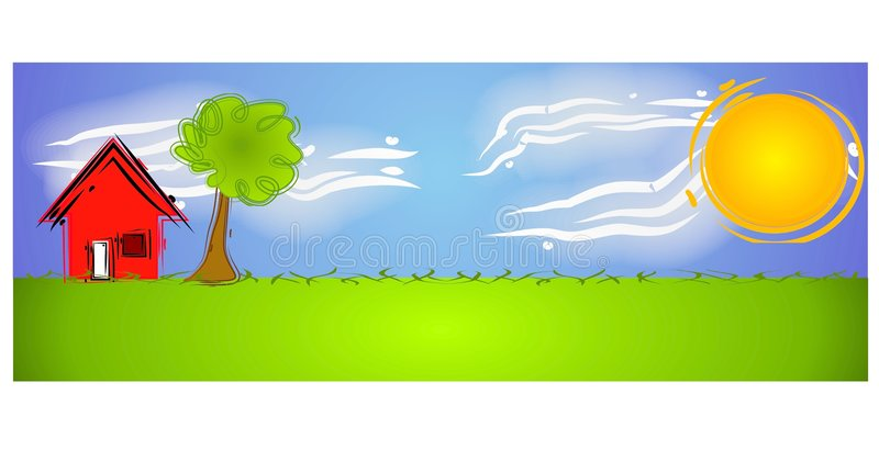 Abstract Rural Scene Sun House stock illustration