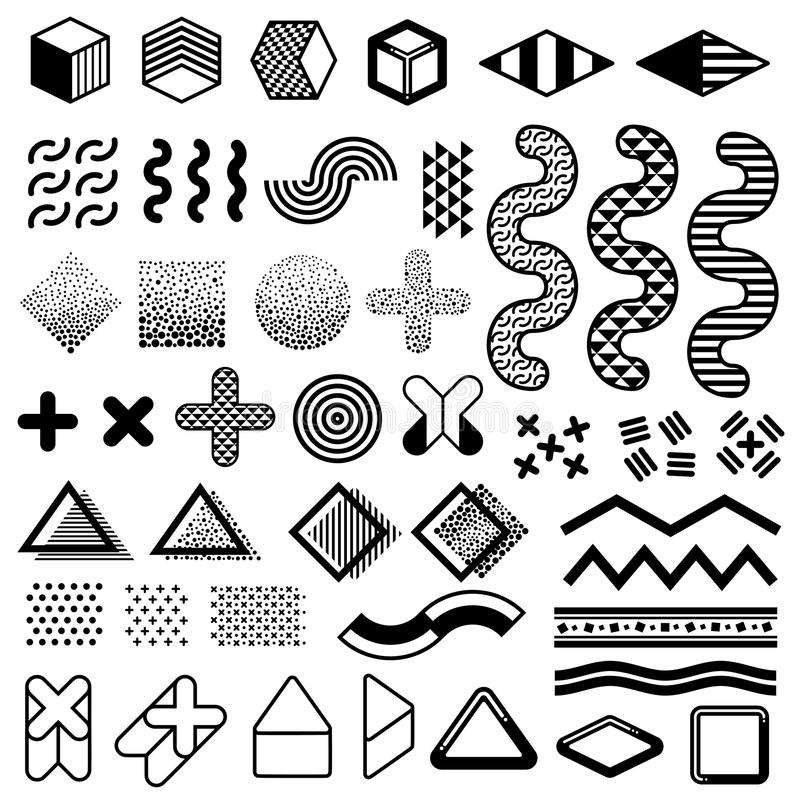 Abstract 1980s Fashion Vector Elements For Memphis Design Modern Graphic Shapes For Trendy Patterns Stock Vector Illustration Of Black Illustration 111909539