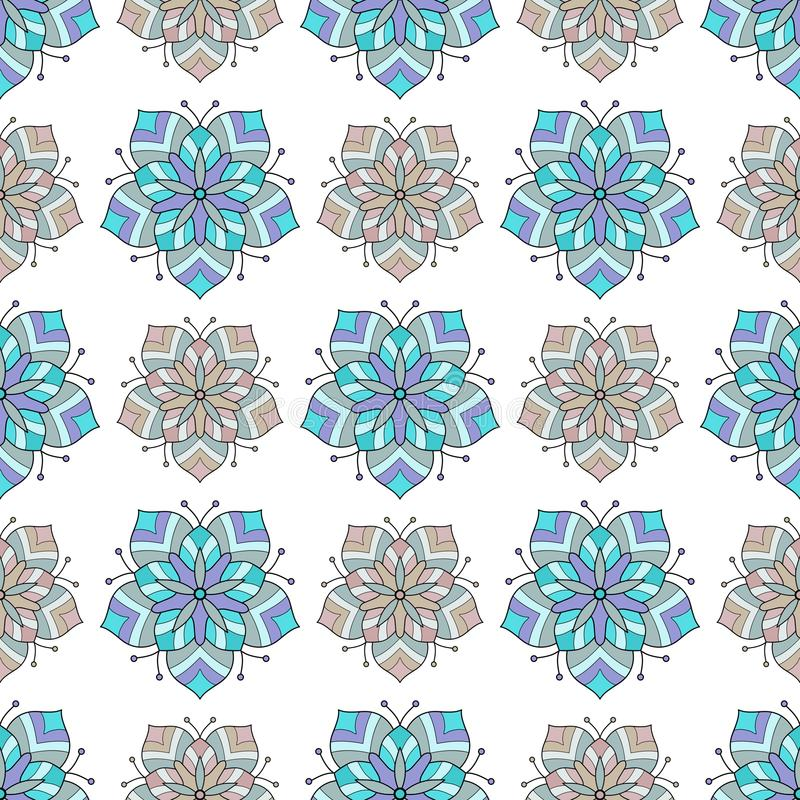 Flower abstract seamless tile pattern vector illustration