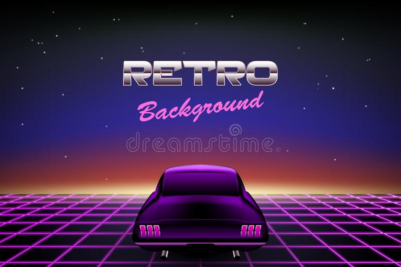 Abstract 80s retro background with car stock illustration
