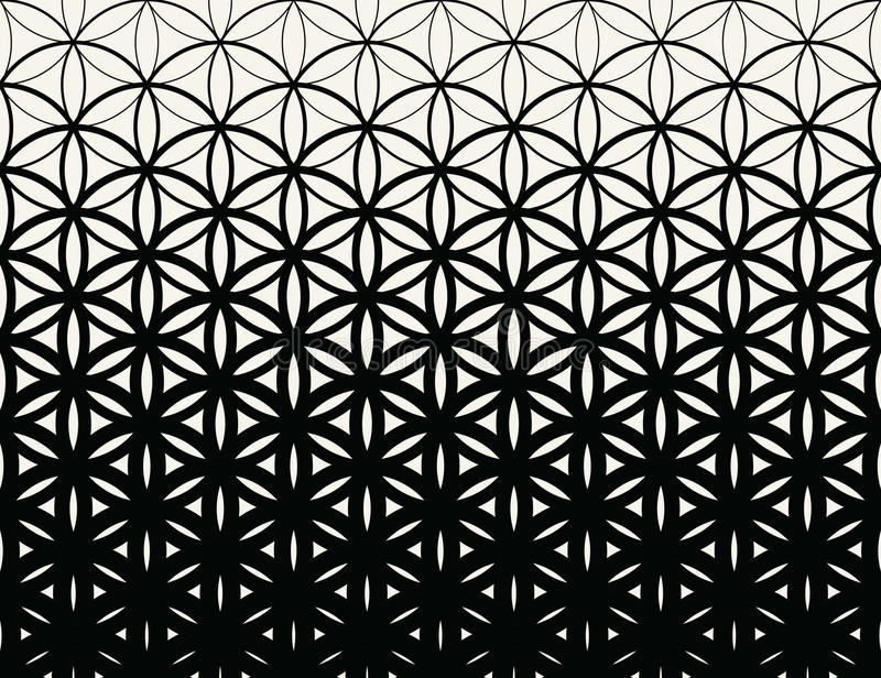 abstract sacred geometry black and white gradient flower of life halftone pattern stock vector. Black Bedroom Furniture Sets. Home Design Ideas