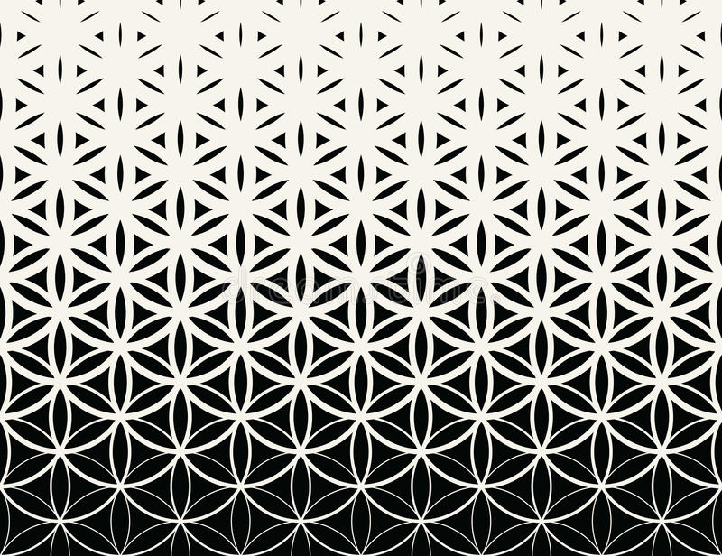 Abstract sacred geometry black and white gradient flower of life halftone pattern stock illustration
