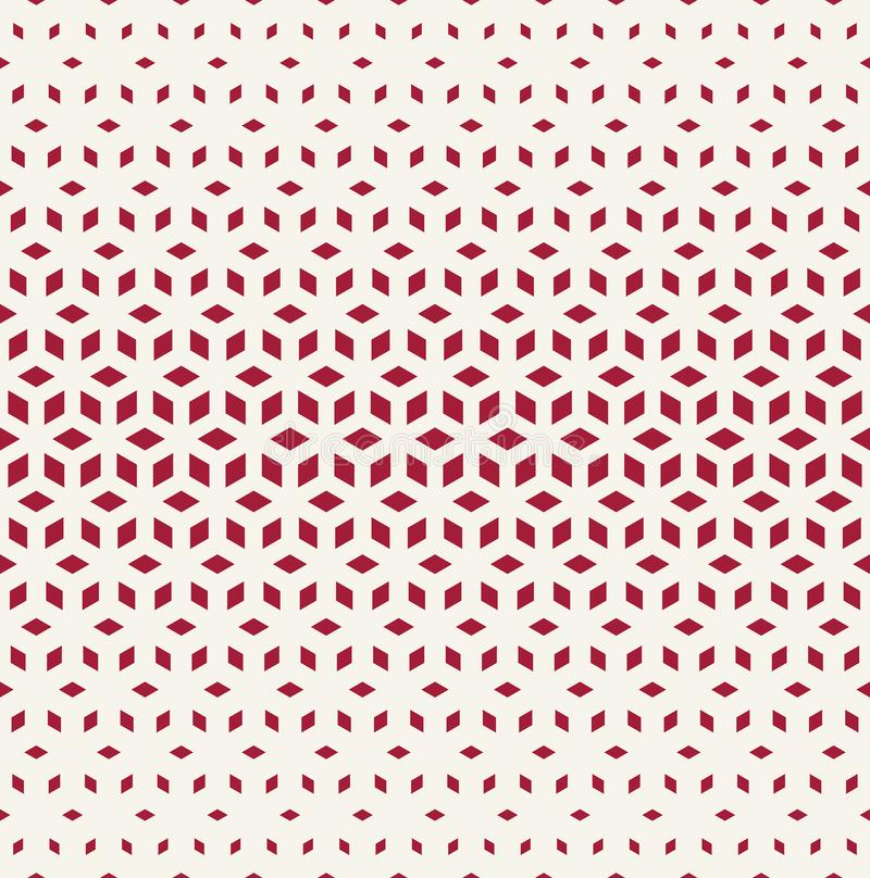 Abstract sacred geometry red grid halftone cubes pattern. Background vector illustration