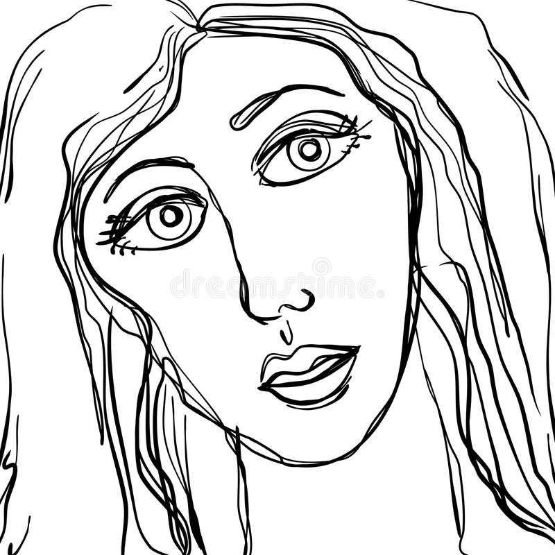 Abstract Sad Woman Face Sketch stock illustration
