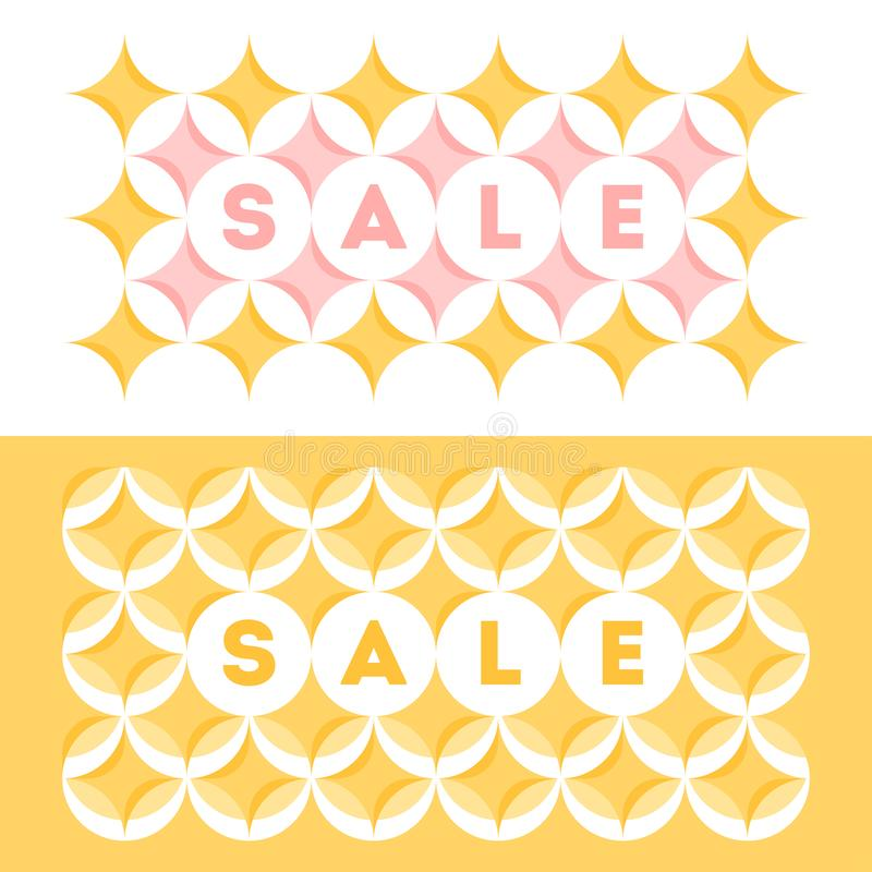 Abstract sale banner template design with pastel colored geometric pattern with circles and stars in a yellow and pink vector illustration