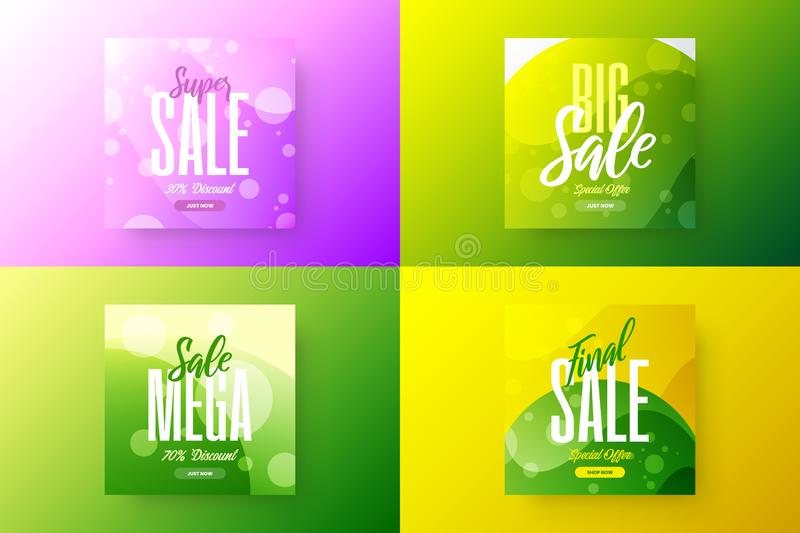 Abstract sale vector banner design template bundle. Special offer discount social media promotion illustration layout set. vector illustration
