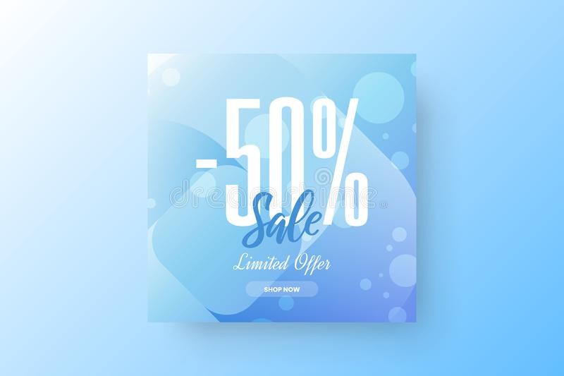 Abstract -50% sale vector banner design template. Limited offer discount social media promotion illustration layout. stock illustration