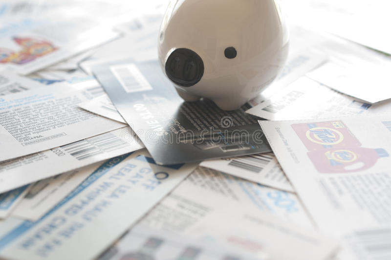 Abstract saving money concept. All coupons for Canadian store, they are issued by manufacturers of consumer packaged goods Canada stock image