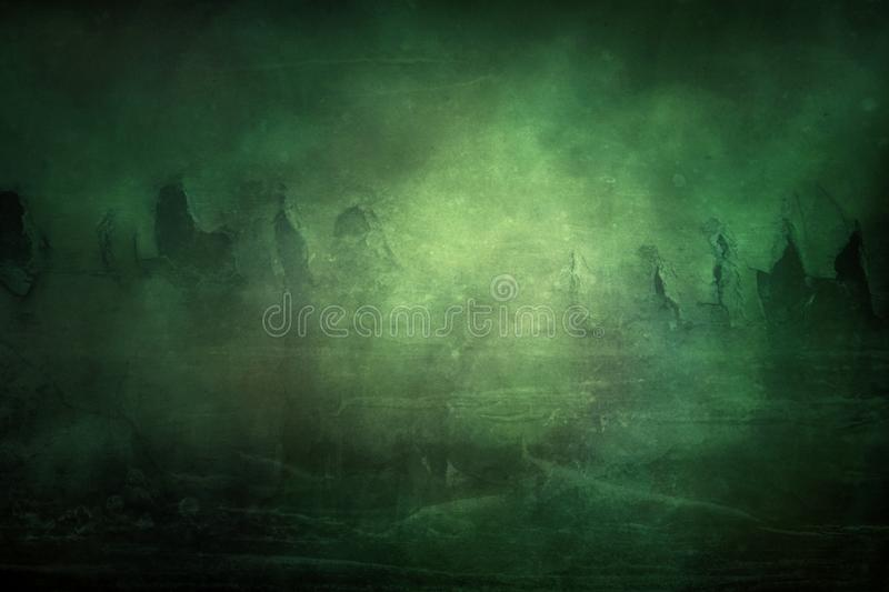 Abstract Scary and Dramatic Texture Theme Background. Artistic abstract mysterious dramatic and unique spooky, creepy, green theme background royalty free stock images