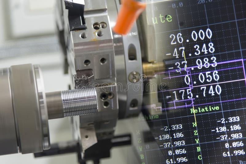 The abstract scene of CNC lathe machine stock image