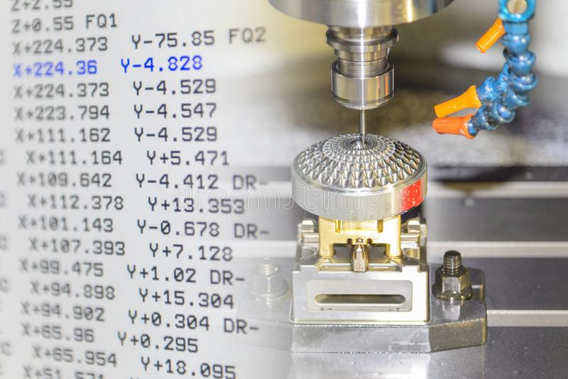 The abstract scene of CNC milling machine and the NC code . The abstract scene of CNC milling machine cutting precision mold part and G-code data stock photos