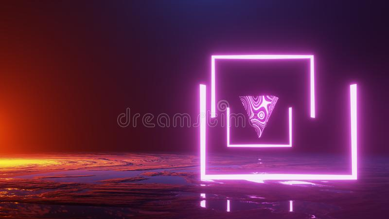 Abstract scene ,exploration of the the Planet`s Surface. Space Travel, Universe Concept. 3d render royalty free illustration