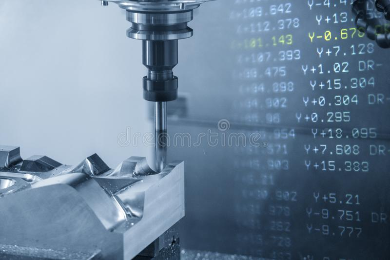 The abstract scene of the G-code data background and the CNC milling machine cutting the mould and die parts. The abstract scene of the G-code data background royalty free stock photography