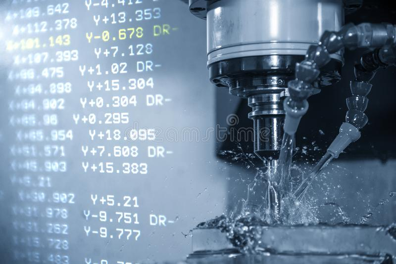 The abstract scene of the G-code data  and the CNC milling machine cutting the forging mold parts with solid ball endmill tools. stock images