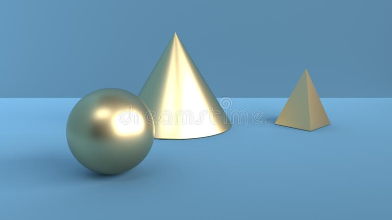 Abstract scene of geometric shapes. Ball, cone and pyramid of gold color. Soft ambient light in 3D scene with blue background. 3d royalty free illustration