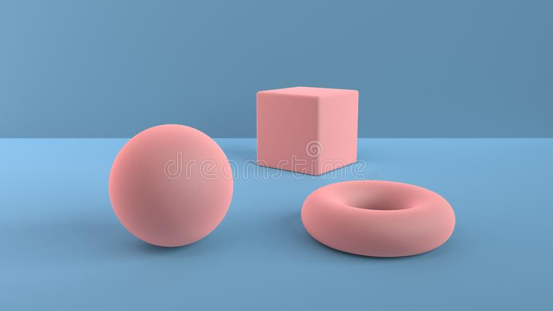 Abstract scene of geometric shapes. Ball, cube and torus light pink. Soft ambient light in a 3D scene with a background of blue. 3 stock illustration