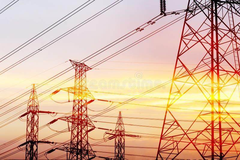 Abstract scene of silhouette electric pylon stock photo