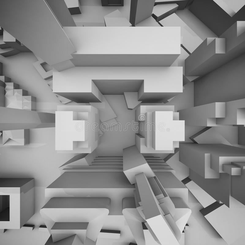 Abstract schematic cityscape, top view 3d stock illustration