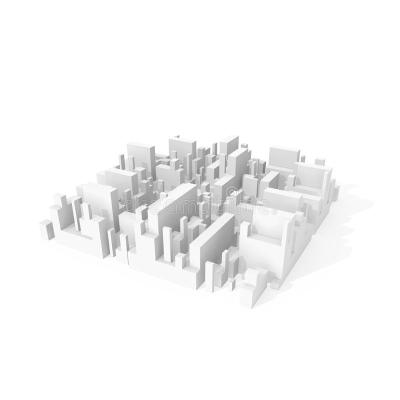Abstract schematic 3d city block on white royalty free illustration