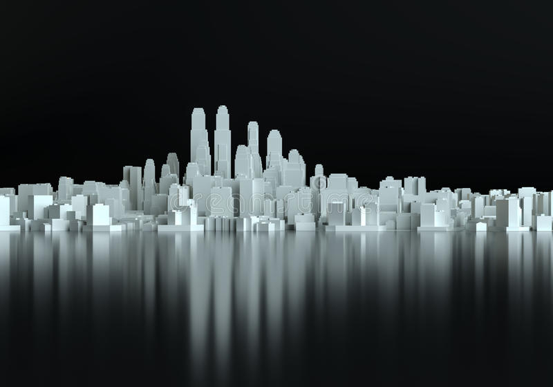 Abstract schematic 3d cityscape vector illustration