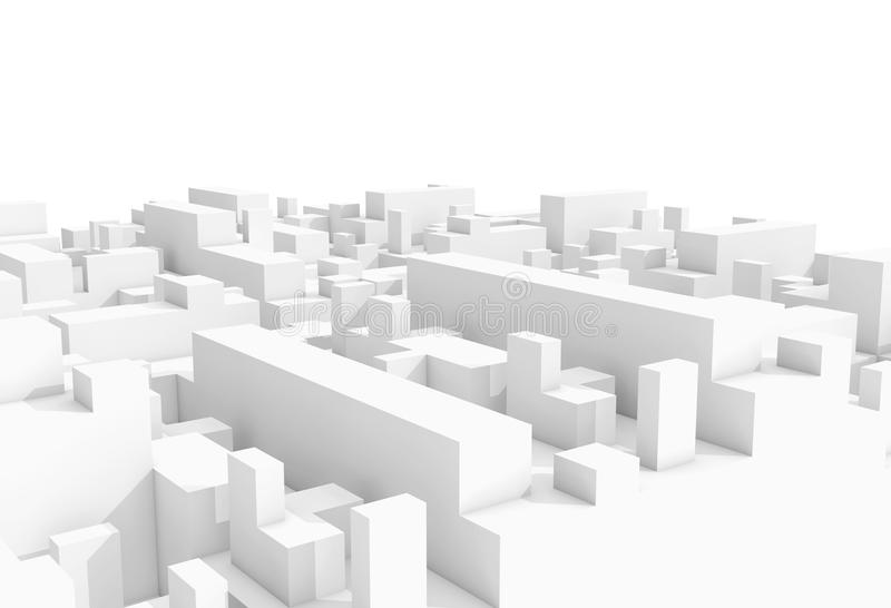 Abstract schematic 3d cityscape on white royalty free illustration