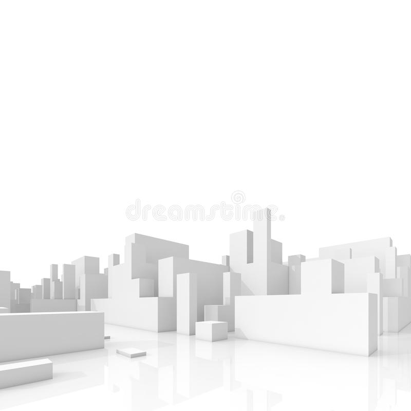 Abstract schematic 3d cityscape on white. Background, square composition with free copy space area vector illustration