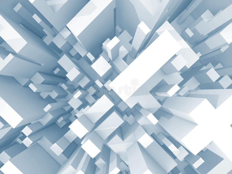 Abstract schematic light blue 3d cityscape, top view stock illustration