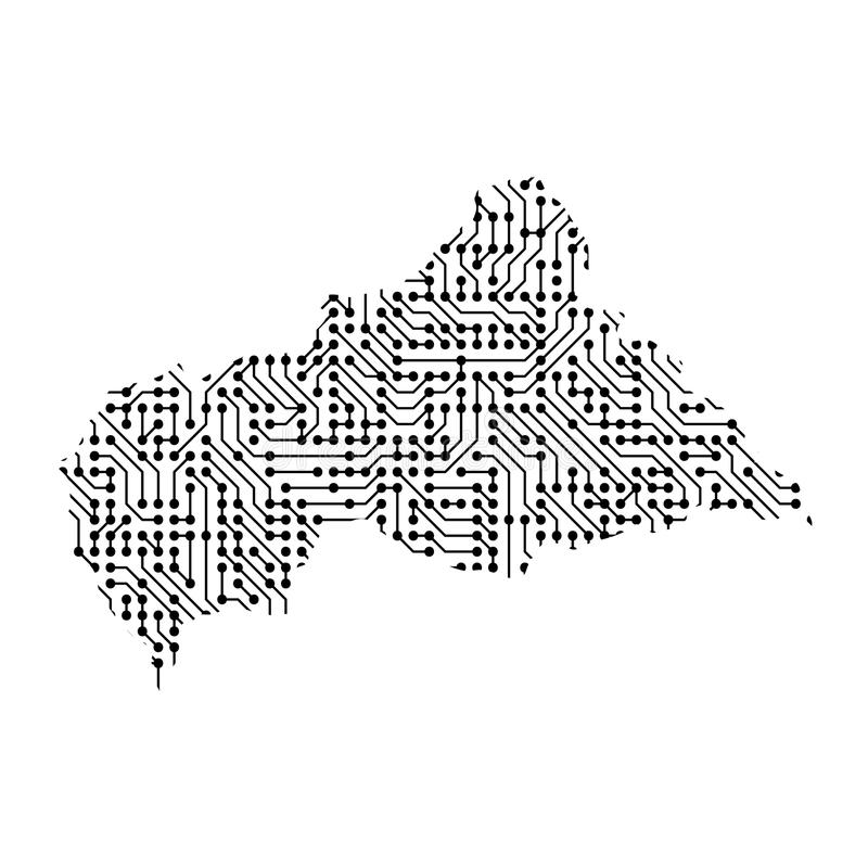 Abstract schematic map of Central African Republic from the black printed board, chip and radio component. Computer electronics p stock illustration