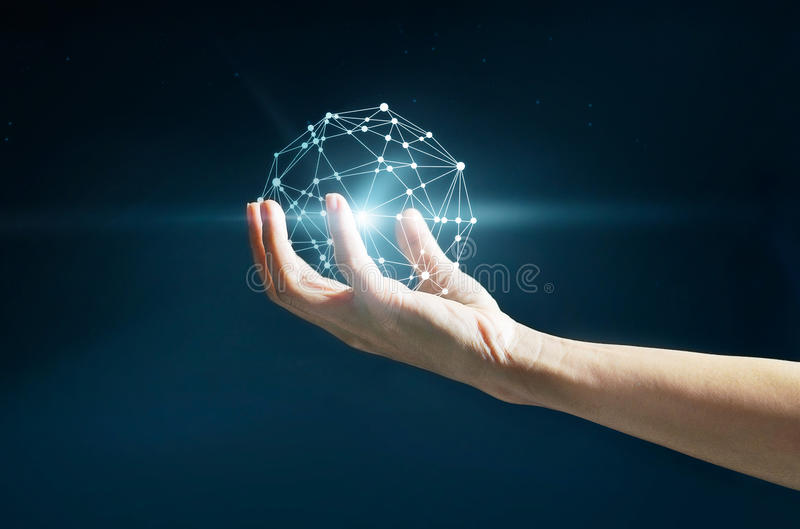 Abstract science, circle global network connection in hand. On stars at night background stock images