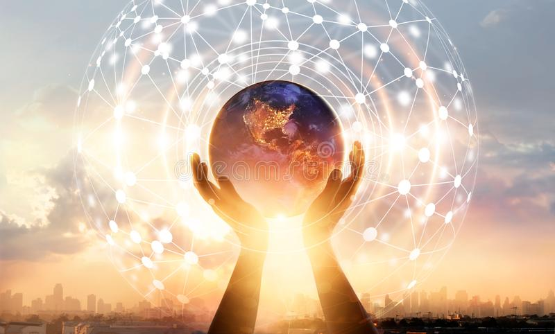 Abstract science. Hands touching earth and circle global network stock images